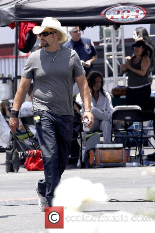 Country music singer-songwriter on the set of his...