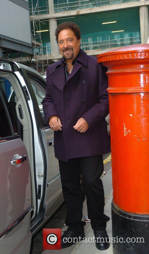 Tom Jones leaving BBC Radio 2 studios London,...