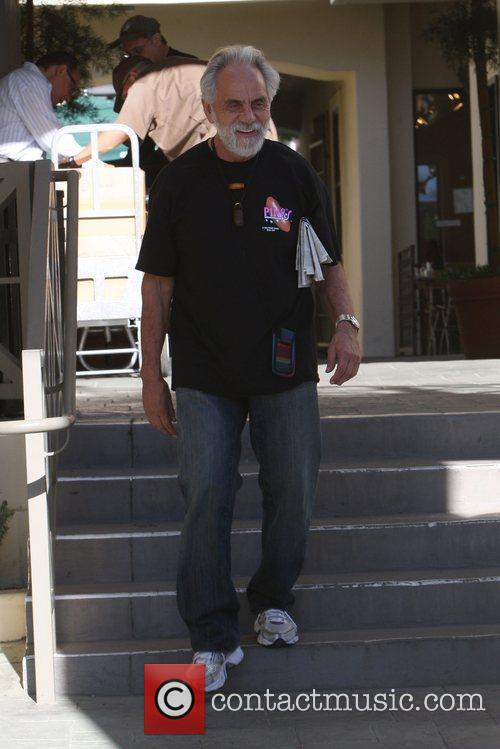 Tommy Chong leaving after having breakfast at Le...