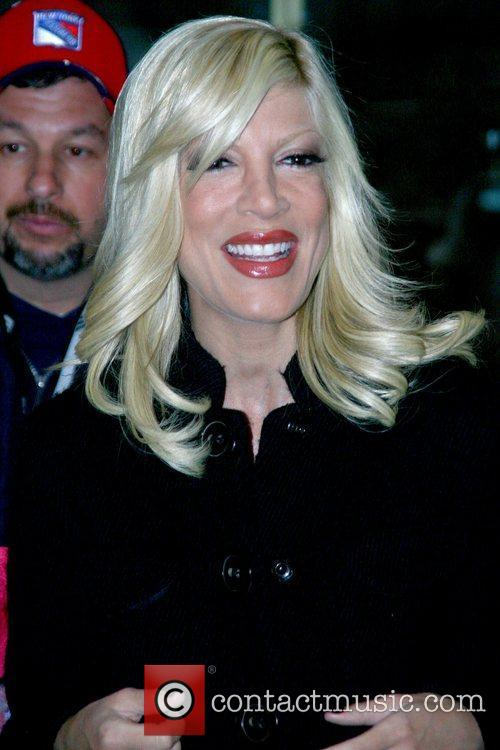 Tori Spelling outside NBC studios after appearing on...