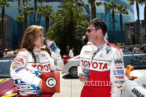 Jamie Little and Tim Daly Celebrity race practice...
