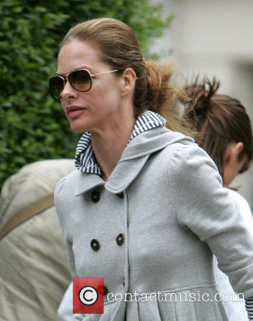 Trinny Woodhall wearing sunglasses on a dull morning...