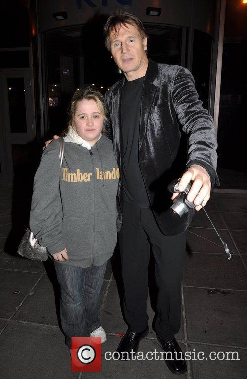 Liam Neeson with a fan outside the RTE...