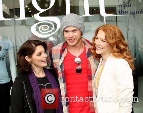 Ashley Greene, Kellan Lutz and Rachelle Lefevre posing...