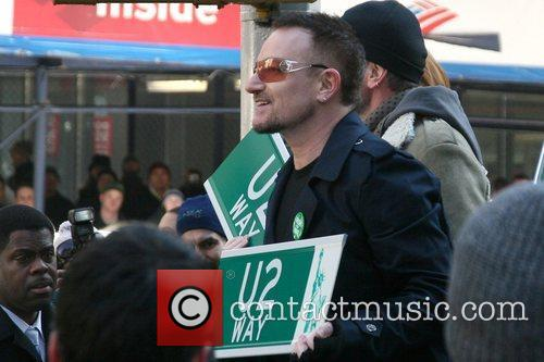 Unveiling of the 'U2 Way' street sign on...