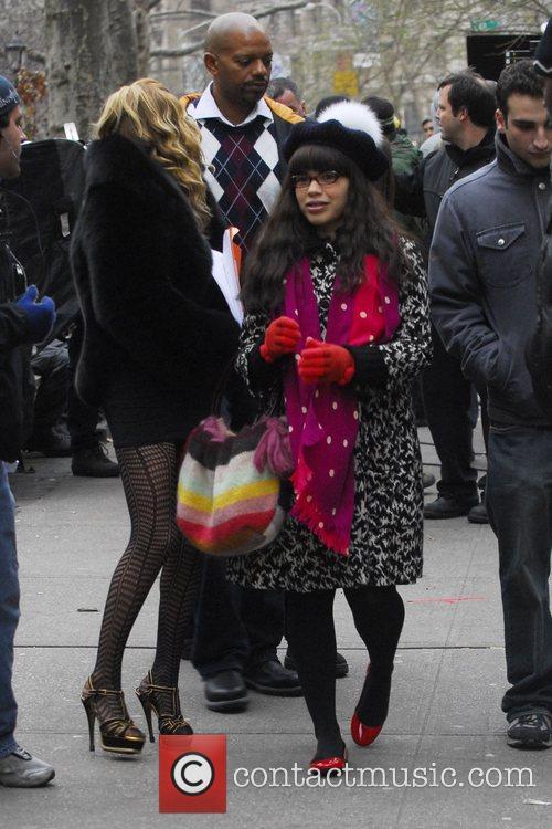 America Ferrera and Becki Newton on the set...