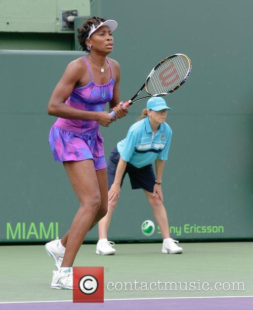 Venus Williams plays against Anna-Lena Groenfeld during day...