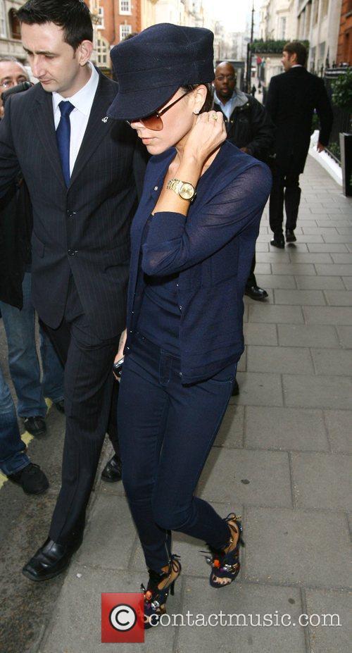 Victoria Beckham leaving Claridges hotel this morning London,...