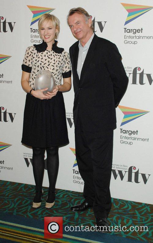 Sam Neill and The Winner Of The Talkback Thames News Talent Award Rebekah Gilbertson 2
