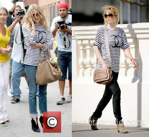 Claudia Schiffer sported the same Chanel striped t-shirt...