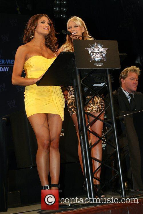 Eve and Kelly Kelly WrestleMania 25th anniversary press...