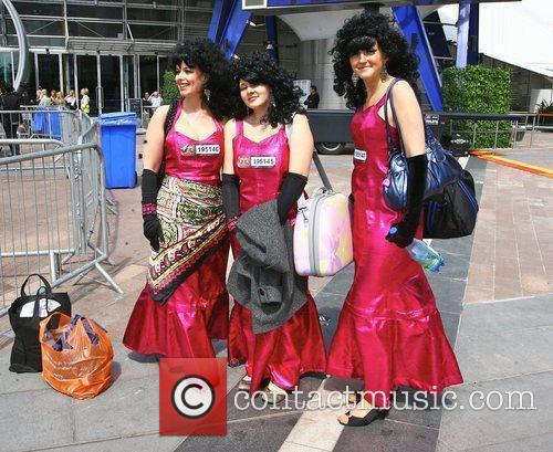 X Factor hopefuls outside the O2 Arena to...