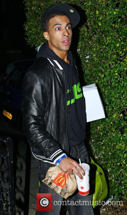 Marvin Humes of JLS arrives back at the...