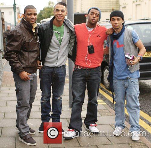 JB, Marvin, Ortise, Aston of JLS arriving at...