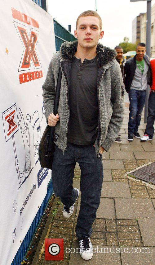 Scott Bruton arriving at rehearsals for the X...