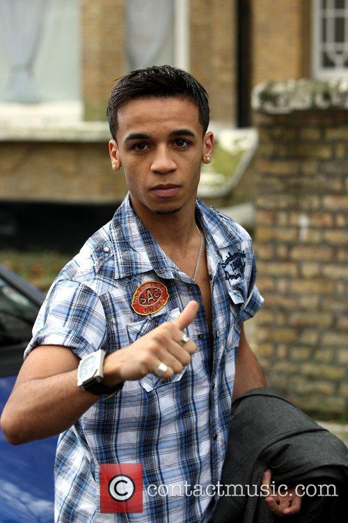 Aston Merrygold of JLS gives the thumbs up,...
