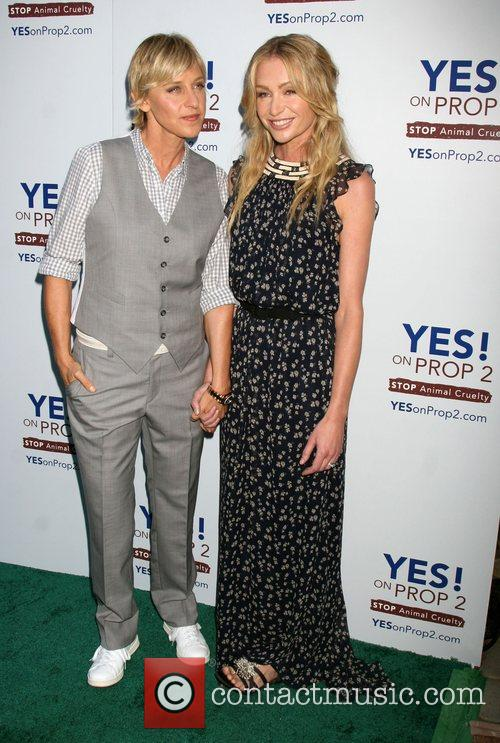 Ellen DeGeneres and Portia DeRossi The 'Yes! on...
