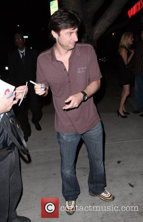 Zach Braff out on 3rd Street Los Angeles,...