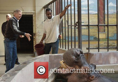 Actor Harrison Ford lends a hand to the...