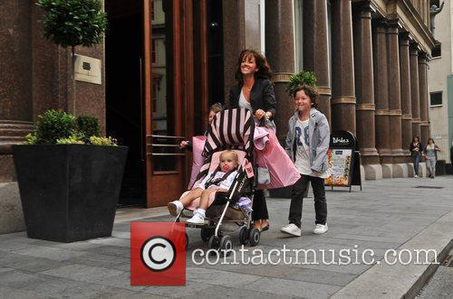 Sheree Murphy shopping with her children Liverpool, England