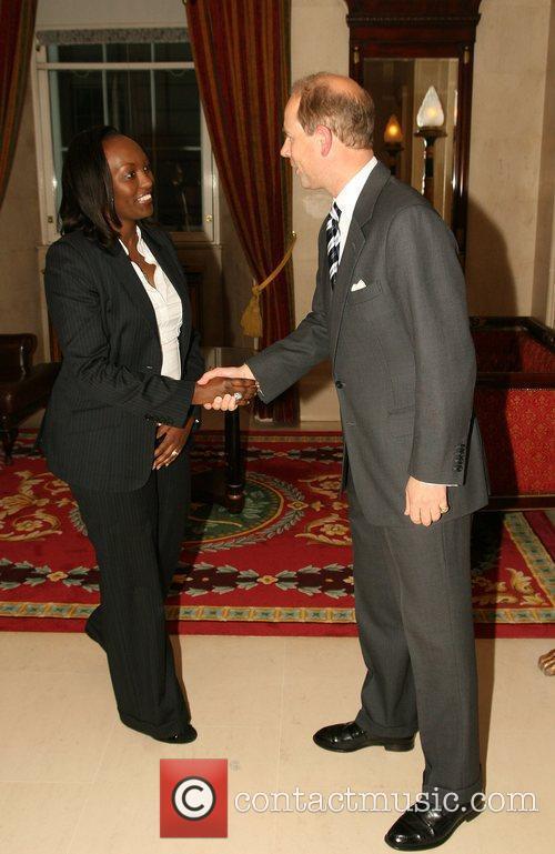 HRH Prince Edward greets Linda Kalimba from the...