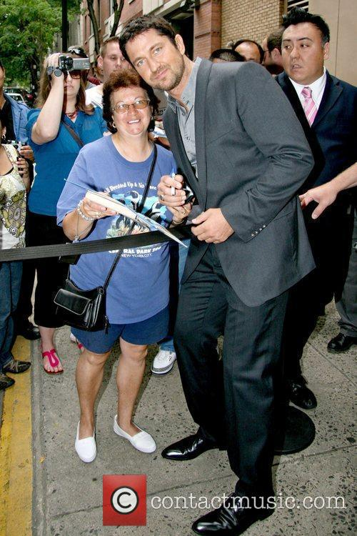 Gerard Butler leaving ABC studio in Manhattan after...
