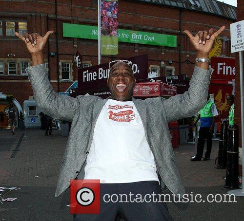 Ainsley Harriott celebrates England's victory win of the...