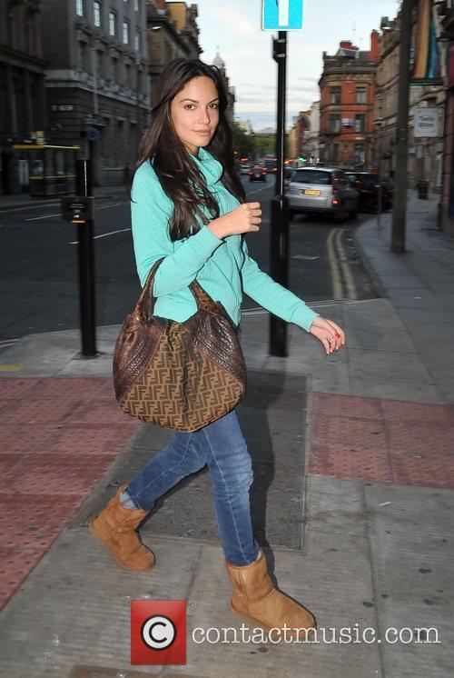 Leaving La Vina restaurant with her footballer fiance