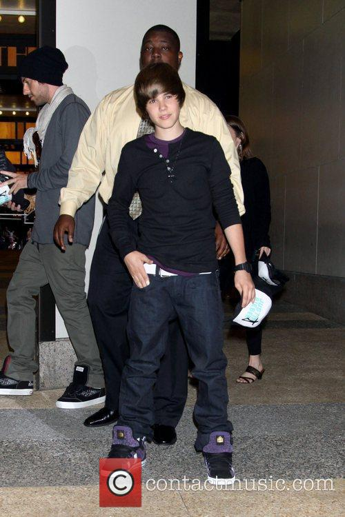 Justin Bieber outside the MTV studios after appearing...