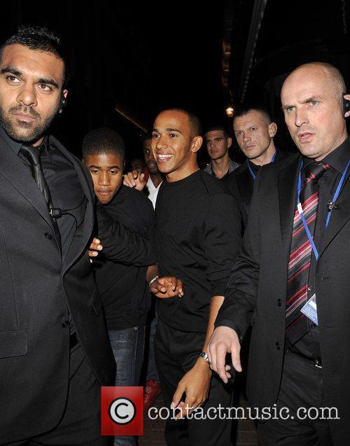Lewis Hamilton leaving Alto nightclub with friends