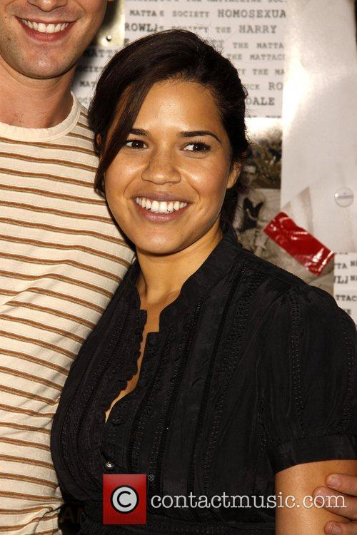 America Ferrera backstage after watching co-star Michael Urie...