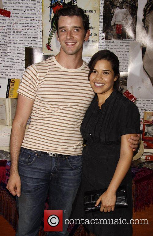 Michael Urie and America Ferrera backstage after Michael...