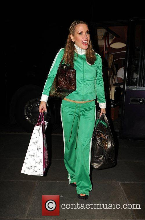 Anastacia arrives back at her hotel after performing...