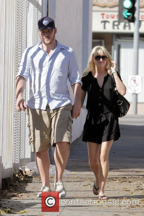 Anna Faris, husband Chris Pratt leaving The Cat and Fiddle in Hollywood after eating lunch. 21