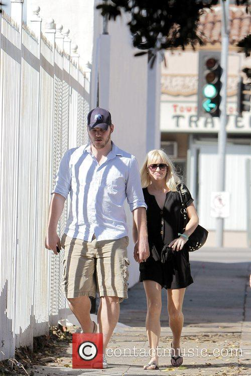 Anna Faris, husband Chris Pratt leaving The Cat and Fiddle in Hollywood after eating lunch. 16
