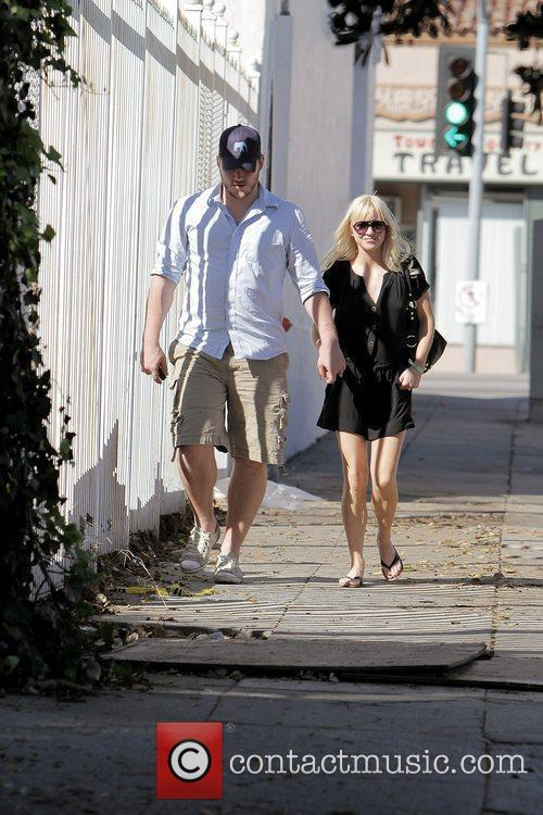 Anna Faris, husband Chris Pratt leaving The Cat and Fiddle in Hollywood after eating lunch. 15