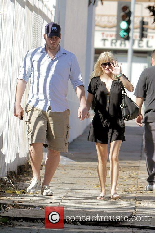 Anna Faris, husband Chris Pratt leaving The Cat and Fiddle in Hollywood after eating lunch. 24