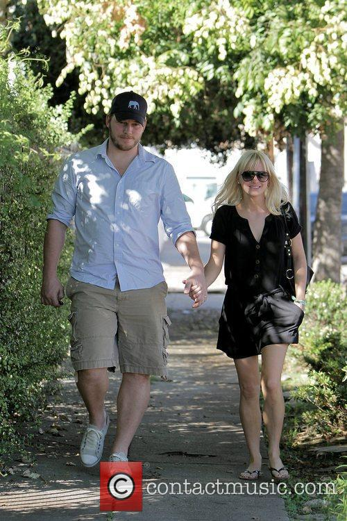 Anna Faris, husband Chris Pratt leaving The Cat and Fiddle in Hollywood after eating lunch. 20