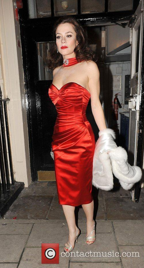 Anna Friel seen leaving the theatre royal in...