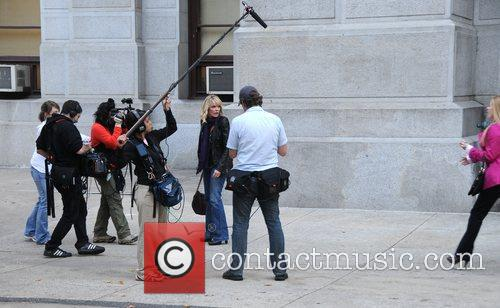 Maura West, Jon Lindstrom and Cady McClain filming...
