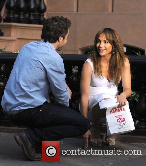 Jennifer Lopez and Alex O'Loughlin on the set...
