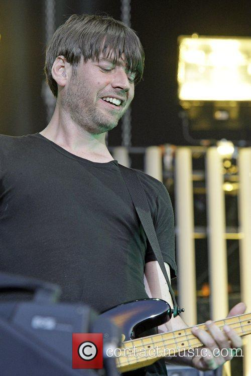 Alex James of Blur performing in Hyde Park...