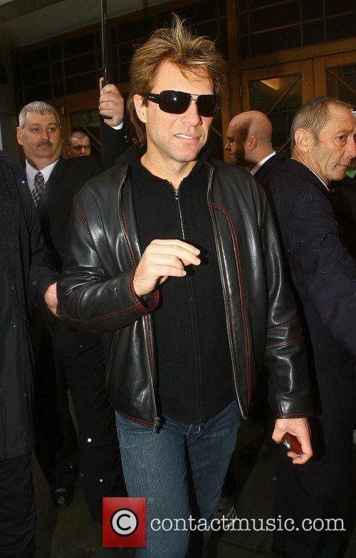 Bon Jovi leaving BBC Broadcasting House after appearing...