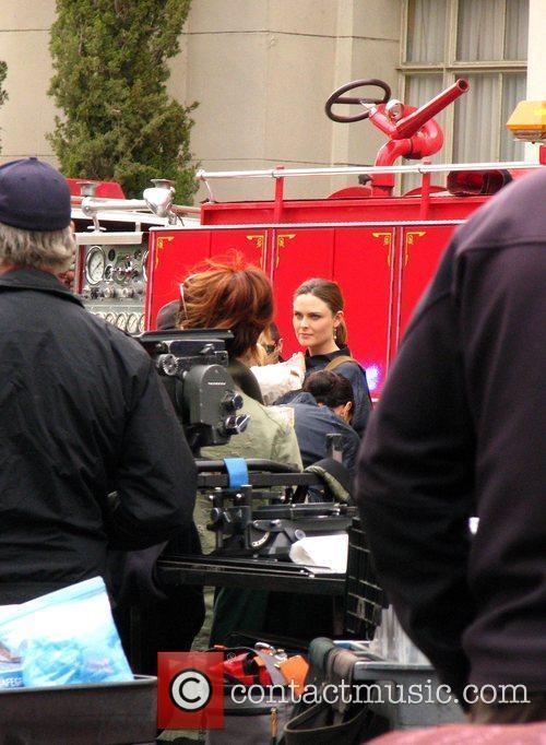Emily Deschanel on the set of 'Bones' Los...
