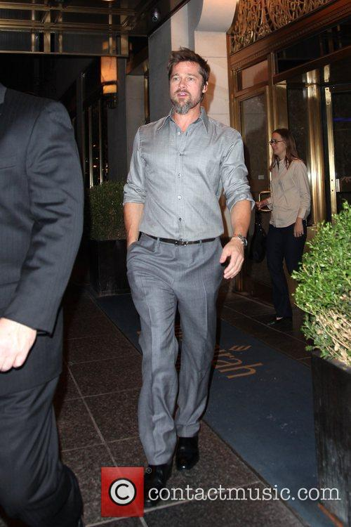 Brad Pitt departs his hotel New York City,...