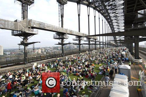 Sydney Harbour Bridge is covered in grass for...