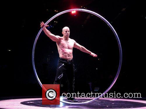 Circus performers at the O2 Arena during the...