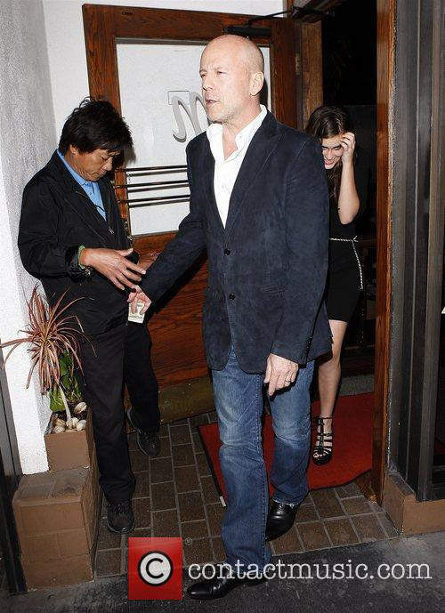 Bruce Willis leaving Madeo restaurant with his daughter...