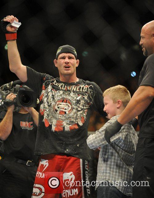 Fight winner Michael Bisping of Manchester, UK with...