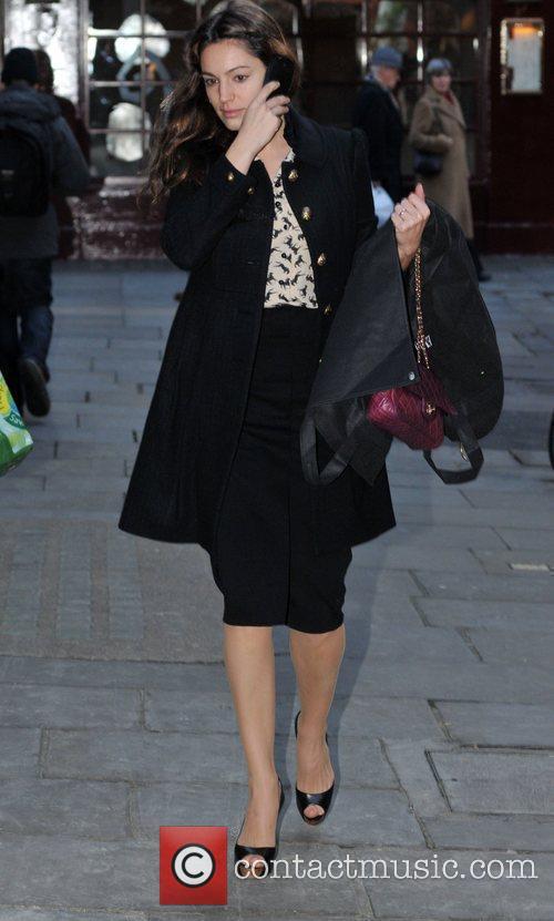 Kelly Brook leaving the Noel Coward Theatre, where...